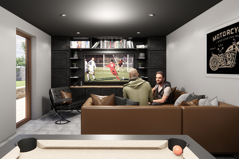 Inside NUA45 Garden room with black TV unit on the back wall. Brown leather corner sofa facing the tv unit and two men sitting on sofa.